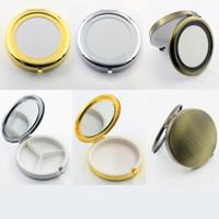 7cm Boîtes à pilules ronde en métal Porte-3 Compartiment médecine Case Petit conteneur Hearth Maquillage Organisateur de stockage F2464