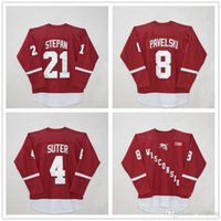 NCAA Men Wisconsin Madison # 4 Ryan Suter # 8 Joe Pavelski # 21 Derek Stepan Red Hockey Maglie Loghi cuciti ricamati College