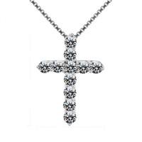 السيدات محظوظ الإناث الصليب كريستال قلادة قلادة 925 الفضة جولة الأبيض القلائد الماس للنساء أفضل قلادة العشاق
