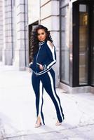 Suits Primavera Womens listrado Esportes Alças Casual Fatos fêmeas Pure Color Fashion roupa das senhoras com Zipper