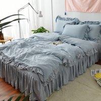 Conjuntos de roupa de cama 4 pçs / set algodão cinza garota pura Duvet capa cama conjunto de casos de criança adulto de doces e travesseiros