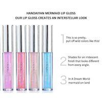 Handiyan 6 colori Glow Glitter Shimmer Sirena Mermaid Lipgloss Lip Tint Idratante Metallo impermeabile Metallo Lunga durata Lip Lip Gloss Balsamo