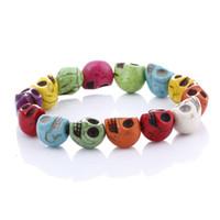 Pulseira bonita do crânio Moda Pedras naturais Pulseira de contas de caveira Pulseira Lava Stone Beads Lindamente Tiger Eye Stone Beads Men Bracelet