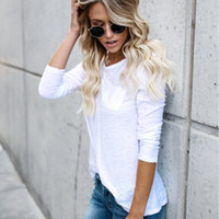 Summer Women White Loose T- Shirt Fashion O- Neck Long Sleeve ...