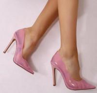 2018 новое прибытие женщины ПВХ высокие каблуки тонкий каблук насосы партия обувь розовый ПВХ насосы точка toe платье обувь видеть сквозь сексуальный каблук