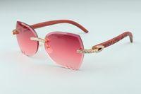 2019 Novos alta qualidade T3524017-7 lentes de corte aparando XL diamantes óculos de sol, tigre naturais de madeira templos óculos, tamanho: 18-135mm