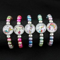 Unicorn Beads Bracelets 18mm Snap Buttons Dome Cabochon Flam...