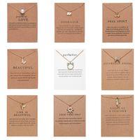 CR Gioielli Arrivo Collana Dogearing con carta regalo Elefante Perla Amore Ali Croce Cross Key Zodiac Sign Compass Lotus Pendant per le donne
