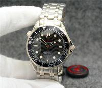 Лучшие бесплатные 42 мм автоматические механические наружные мужские часы Часы черный циферблат с браслетом из нержавеющей стали вращающийся безель прозрачная задняя крышка