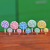 Colorido arcilla del polímero Lollipops suave arcilla DIY Juguetes Montado en miniatura Hada de la decoración del jardín Micro paisaje de accesorios Planter regalo Cactu