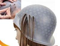 المهنية سيليكون قابلة لإعادة الاستخدام تلوين الشعر تسليط الضوء على صبغ كاب صقيع البقشيش مع أداة غطاء الإبرة شفافة الشعر صباغة