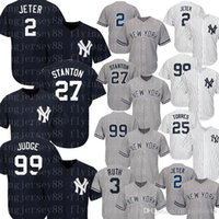 Yankees Jersey Aaron Le juge Jeter Gregorius Sanchez Torres Don Mattingly Gary Sanchez Mickey Mantle Babe Ruth Maillots de Baseball 99 2 27 23 24