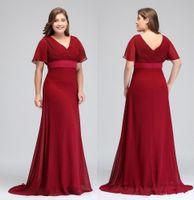 Abiti Occasioni rosso scuro con maniche corte scollo a V pieghe abiti da sera formale in chiffon abiti da festa della madre della sposa