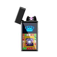 전자 담배 라이터 Windproof 더블 화재 크로스 트윈 아크 펄스 전기 아크 다채로운 USB 충전 라이터 5 색상 VT0637