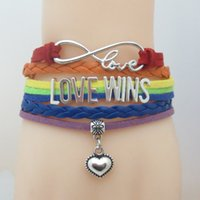 Braccialetto Infinity Love Wins Heart Charm Braccialetto LGBT Pride per donna uomo Regalo per LGBT Gay Pride Multilayer Wrap Bracelet
