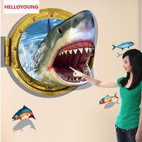 DIY 3D The Bottom Of The Sea Shark World Art Sticker Dormitorio Decoración para el hogar Etiqueta de la pared Papel pintado impermeable