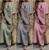 S-5XL Womens Kaftan Pinstriped manga comprida listrada Plus Long Maxi Dress