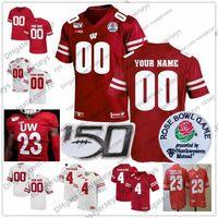 Personalizzato Wisconsin 2020 Football 150th Rose Bowl # 17 Jack Coan 23 Jonathan Taylor 4 AJ 87 Quintez Cephus Men Youth Kid Jersey 4XL