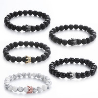 2019 Newly Bracelets Factory Price Lava Rock Crown Bracelets...