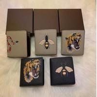الرجال الحيوان قصيرة محفظة جلد أسود الأفعى النمر النحل محافظ المرأة طويلة نمط الأزياء محفظة حاملي بطاقة محفظة مع هدية مربع أعلى جودة