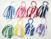 Curly tassel gingham ribbon korker ponytail holders streamer 5 inch corker plaid hair bows ties bobbles elastic accessories headwear PD027