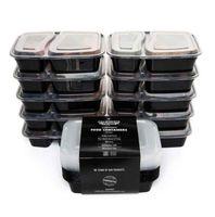 10 Pçs / set 2 Compartimento Refeição Prep Recipiente De Comida De Plástico Lancheira Bento Picnic Eco Com Tampa Microwavable Cesta de Almoço