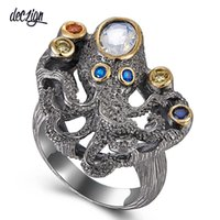 Deczign New Arrived Gothic Ring for Women Black Octopus Styl...