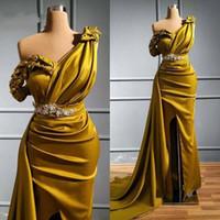 Olive Yellow una spalla promenade della sirena Abiti sexy crtstal in rilievo arabo degli abiti di sera Plus Size alta Split damigella d'onore partito convenzionale