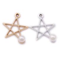 120pcs / lot nouvelle étoile charme pendentif avec une perle blanche or argent plaqué 20 * 20mm pour artisanat fait main
