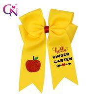"""CN 6Pcs / серия 7"""" Back To School Cheer луки с зажимами для девочек с блестками Apple, Printed волос Банты партии Cheerleader Аксессуары для волос"""