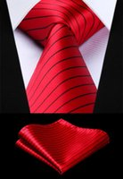 Party Wedding Classic Pocket Square Tie Woven Men Tie Red Bl...