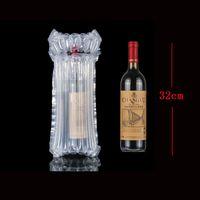 32x9cm 7 columnas protector de botellas bolsa de botella de vino portátil inflable de aire empaquetado burbuja bolsa de amortiguación envoltura viaje accesorio paquete