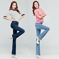 Freies verschiffen Hohe qualität förderung neue frauen sommer dünne jeans mädchen jeim boot cut hosen langen flaschenhose
