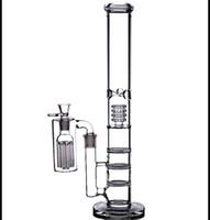 "17 ""de altura bongs de agua grandes 18mm recicladoras de aceite burbujeador Triple panal de abeja tubos de vidrio perc tazón 8 brazos colector de cenizas 18.8mm"