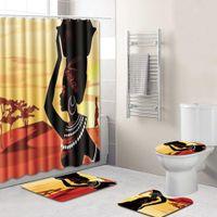 حمام دش الستار المرأة الأفريقية مطبوعة ماء مغسل ستائر حمام غطاء غطاء المرحاض حصيرة عدم الانزلاق الركيزة البساط مجموعة