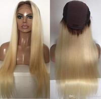 Celebrity Wigs Lace Front Wig 10a Ombre Loira # 613 Silky Straight Vietnamita Virgem Humano Cabelo Completo Peruca Para Mulher Branca Frete Grátis