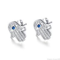 여성 펑크 빈티지 귀걸이 파티 보석 할로윈 선물에 대한 파티마 손 귀걸이 큐빅 지르콘 팜 블루 악마의 눈 스터드 귀걸이
