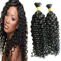 Mongolian kinky cabelo encaracolado 2 pcs cabelo humano para trança a granel sem pacotes de fixação trançando extensões de cabelo