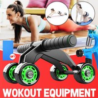 880lbs Abdominal Exercise Power Roller With 4 Wheels Power Wheel Triple Abdominal Roller Workout Fitness Machine Gym Knee Pad