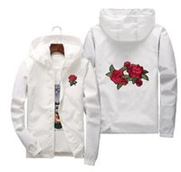 Gemi Rose Ceket WINDBREAKER Erkekler Ve Kadınlar Ceket Yeni Moda Beyaz Ve Siyah Güller Dış Giyim Coat Hazır