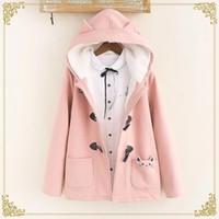 Güzel kedi sıcak kapüşonlu kış ceket kadınlar ceket boynuz düğme artı kadife 3colors M, L T200110 cebe