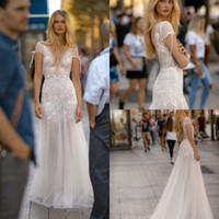 Gali Karten 2019 Beach Wedding Dresses A Line V Neck Lace Sh...