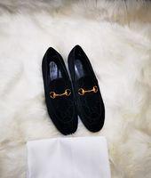 Toptan Siyah Kadife Loafer'lar Kadınlar Evrensel Moda Inek Derisi Deri Rahat Klasik Elbise Ayakkabı Erkekler Kauçuk Taban