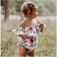 Baby Flower Print Lotus Collar Sleeve Off Shoulder Romper Gi...