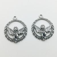 50 teile / los Musik Angel Alloy Charms Anhänger Retro Schmuck DIY Keychain Alte Silber Anhänger Für Armband Ohrringe Halskette 29x25mm