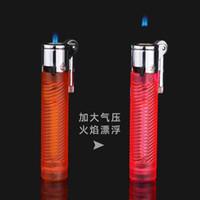Yeni Geliş Yaratıcı Bireysel Torch Silindirik Şeffaf Çakmak Açık Yangın Torch Küçük Taşlama Tekerlek Çakmak Puro Meşalesi