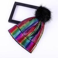 الرجال والنساء الذهب الدافئ والفضة لامعة الخريف والشتاء مبيعات الفراء الملونة الكرة متماسكة القبعات