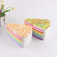 Jumbo Rainbow Fake Cake Decoração Squishy Crumble Fusão Kawai Slow Rising Alimentar Casamento Fotografia Brinquedo Cinta Do Telefone