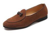 37 ~ 48 대형 남성 정품 가죽 로퍼 술 슬립 드레스 정장 웨딩 신발 뾰족한 발가락 드리 워진 활 플랫 로퍼