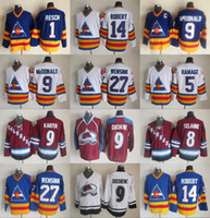 Colorado Hockey-Trikots billig 9 Lanny McDonald 27 John Wensink 5 Rob Ramage 14 Rene Robert 1 Glenn Chico 8 Teemu Selanne Jugend Frauen Mann
